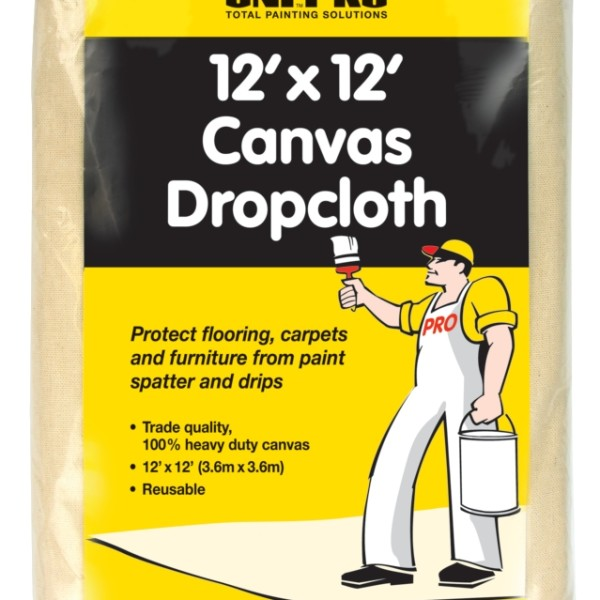 UNi-PRO Heavy Duty Canvas Dropcloth 12′ x 12′ 1