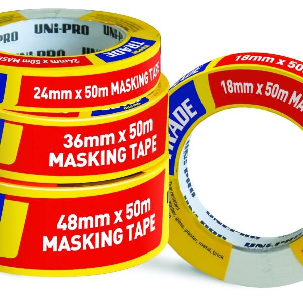 UNi-PRO Trade Masking Tape – White 18mm x 50mt 1