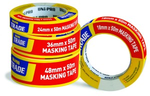 UNi-PRO Trade Masking Tape - White 18mm x 50mt