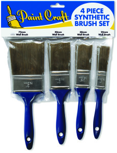 Paint Craft 4 Piece Synthetic Brush Set (25/38/50 & 75mm) 4 pack