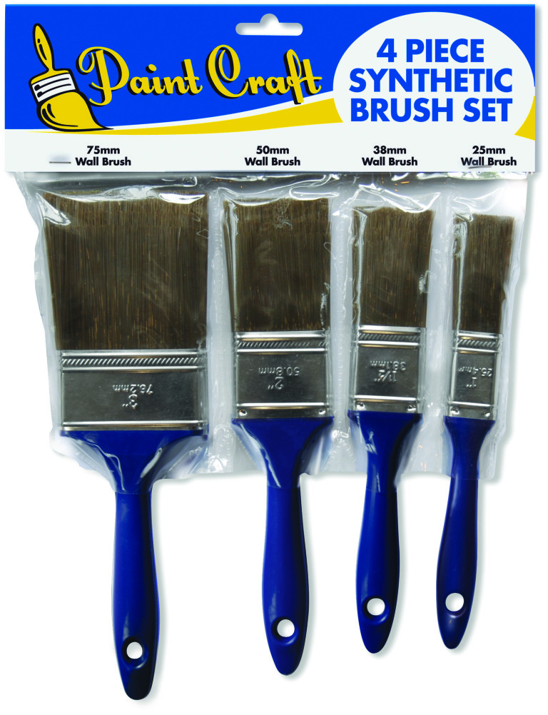 Paint Craft 4 Piece Synthetic Brush Set (25/38/50 & 75mm) 4 pack 1